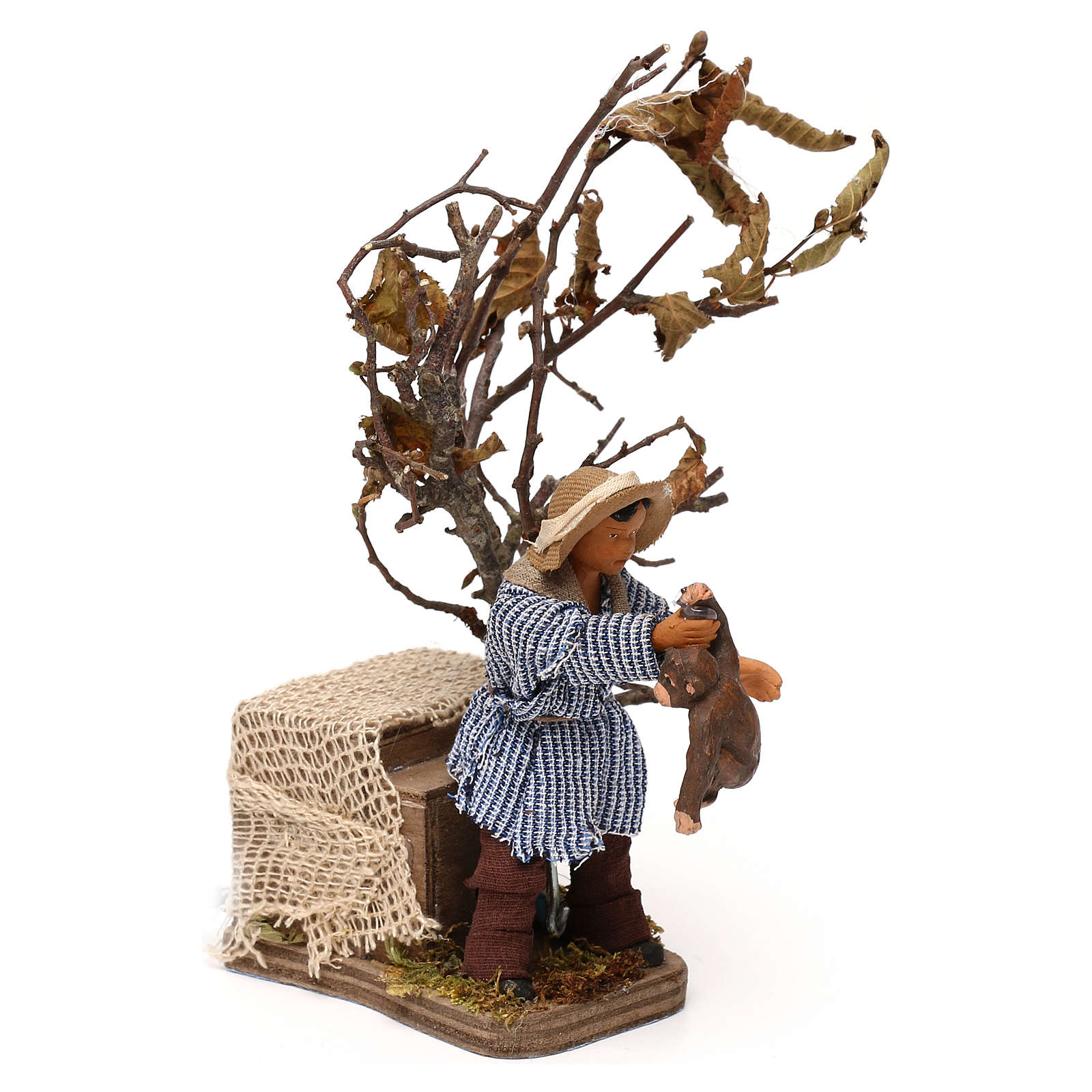 Young boy with monkey 12cm Neapolitan Nativity animated figurine 4