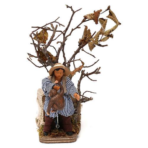 Young boy with monkey 12cm Neapolitan Nativity animated figurine 1