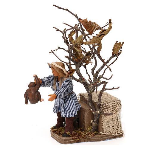 Young boy with monkey 12cm Neapolitan Nativity animated figurine 2