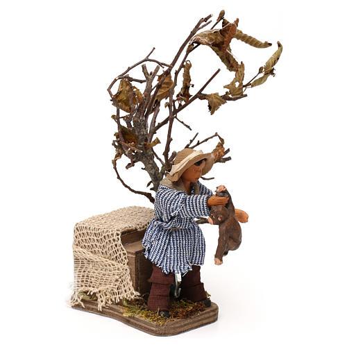 Young boy with monkey 12cm Neapolitan Nativity animated figurine 3