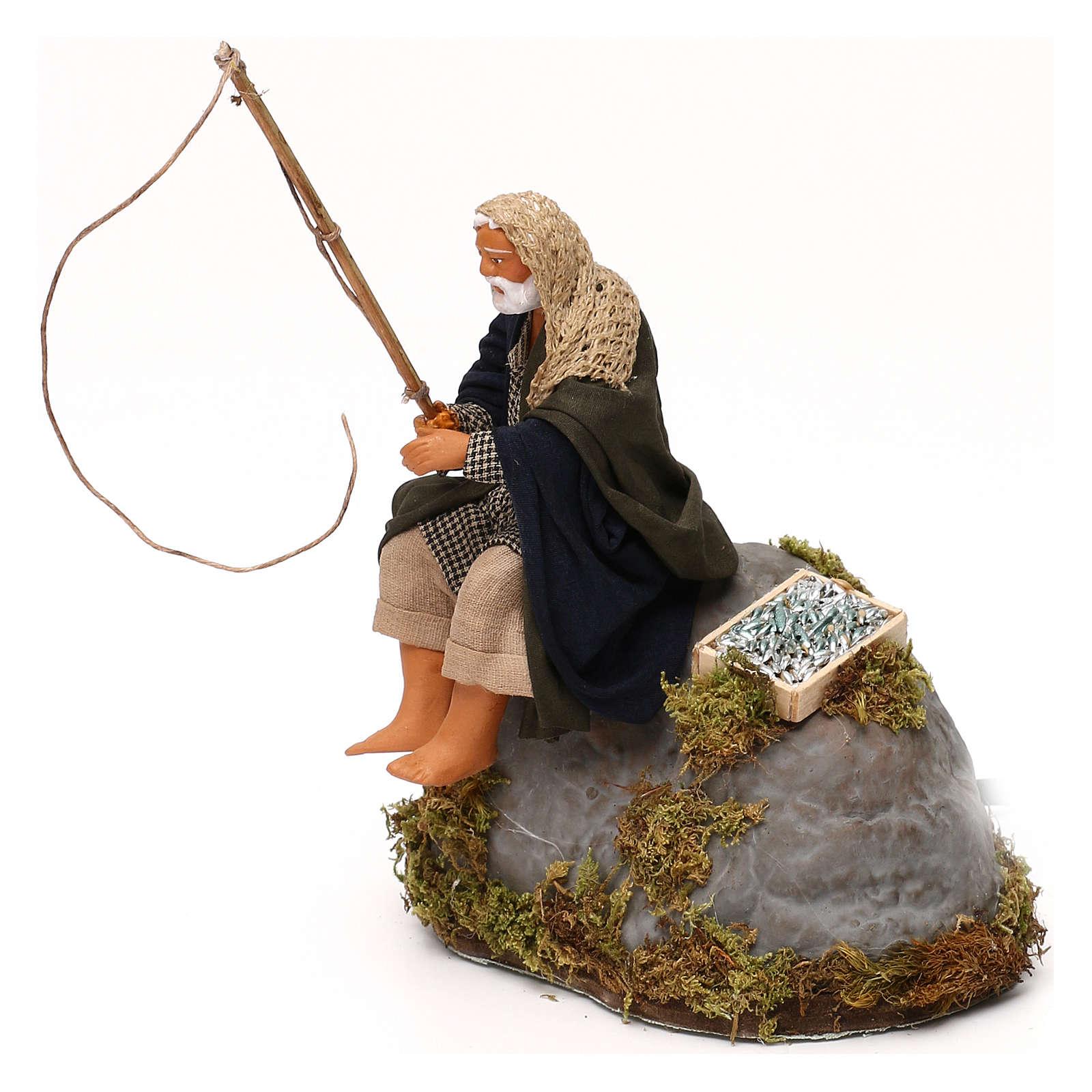 Man fishing from rock a 12cm Neapolitan Nativity animated figurine 4
