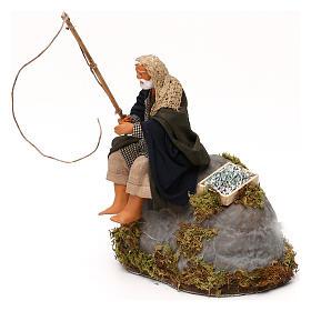 Man fishing from rock a 12cm Neapolitan Nativity animated figurine s2