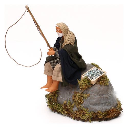 Man fishing from rock a 12cm Neapolitan Nativity animated figurine 2