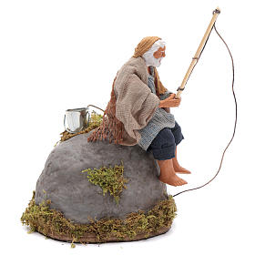 Pescatore su scoglio 12 cm con movimento presepe napoletano s3