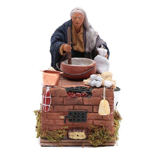 Donna in cucina 12 cm con movimento presepe napoletano 1