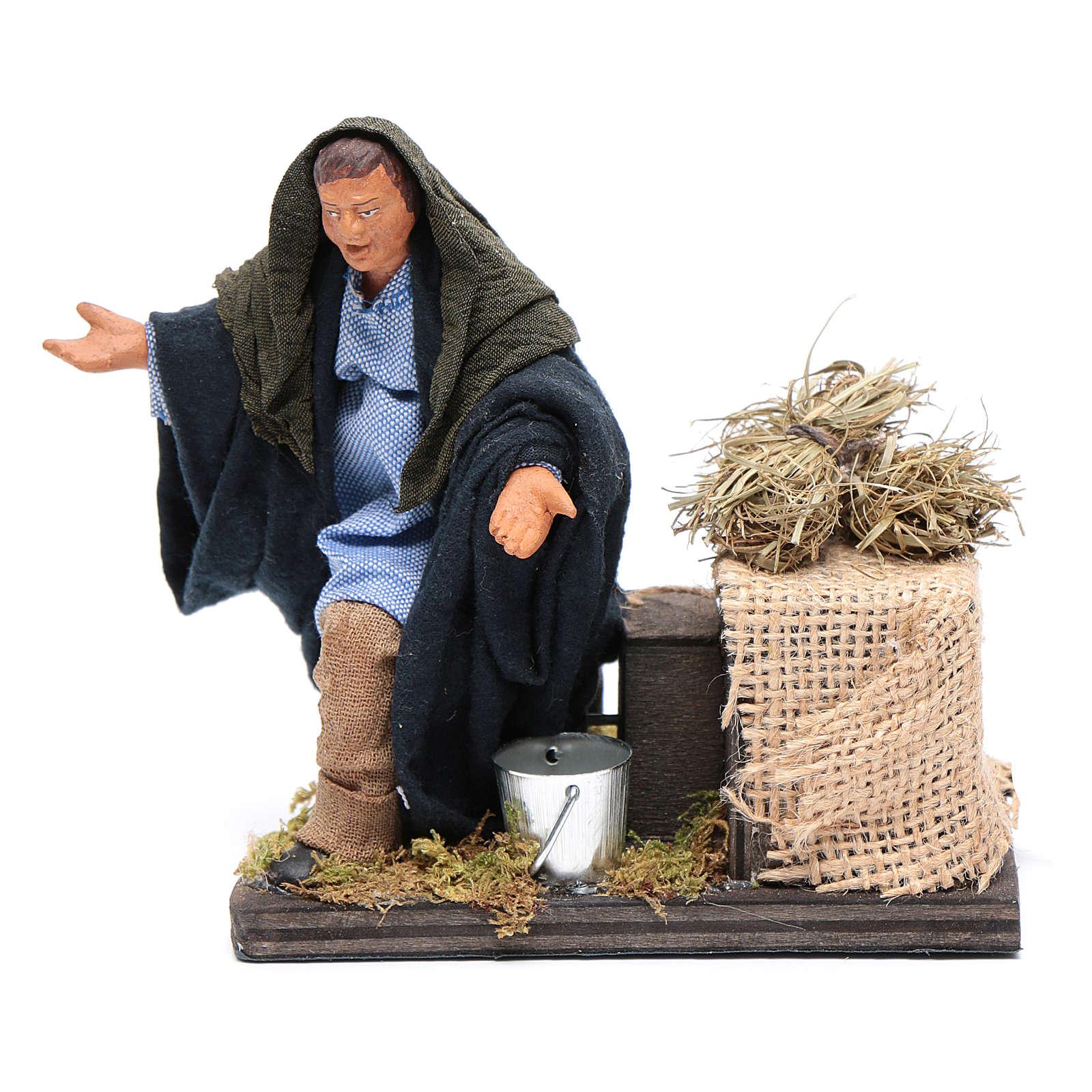 Moving amazed shepherd kneeling for 12 cm Neapolitan nativity scene 4