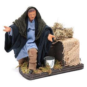 Moving amazed shepherd kneeling for 12 cm Neapolitan nativity scene s3
