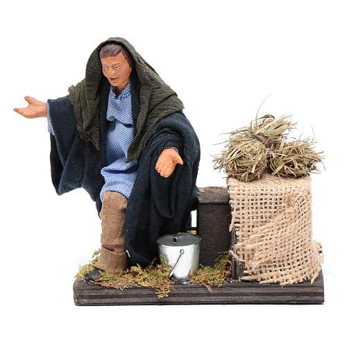 Moving amazed shepherd kneeling for 12 cm Neapolitan nativity scene 1