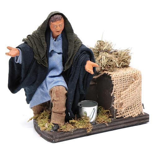 Moving amazed shepherd kneeling for 12 cm Neapolitan nativity scene 3