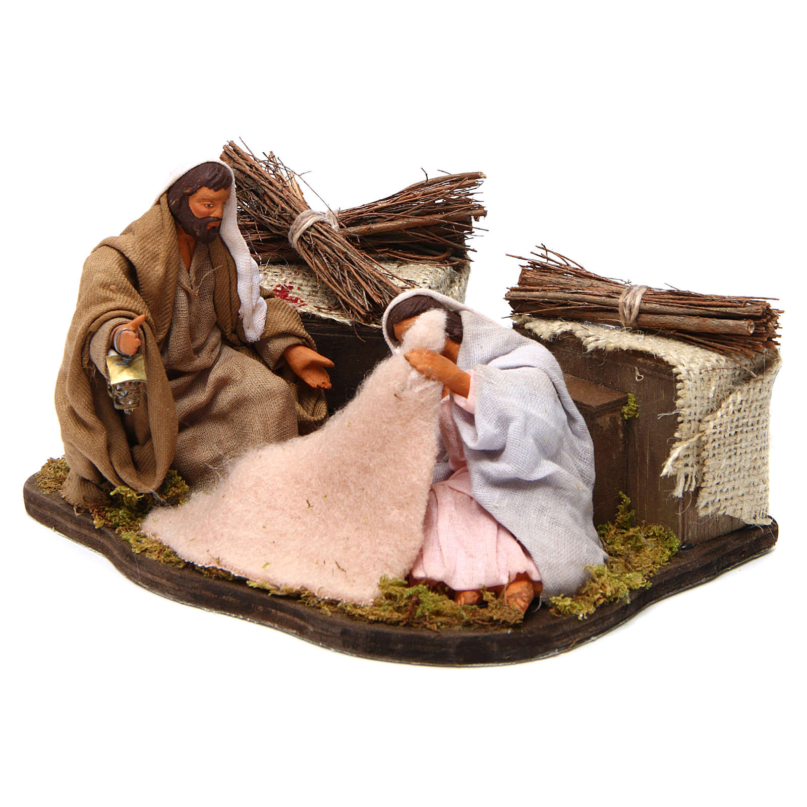 Moving sitting holy family Neapolitan nativity scene 12 cm 4