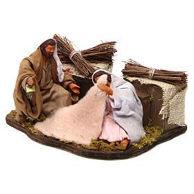 Moving sitting holy family Neapolitan nativity scene 12 cm s2