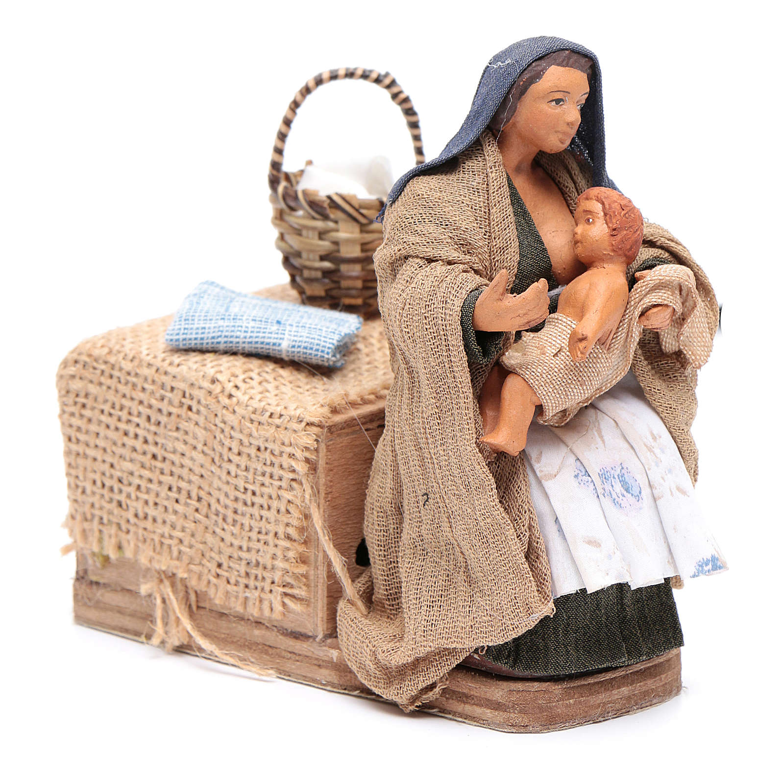 Donna che allatta 12 cm con movimento presepe napoletano 4
