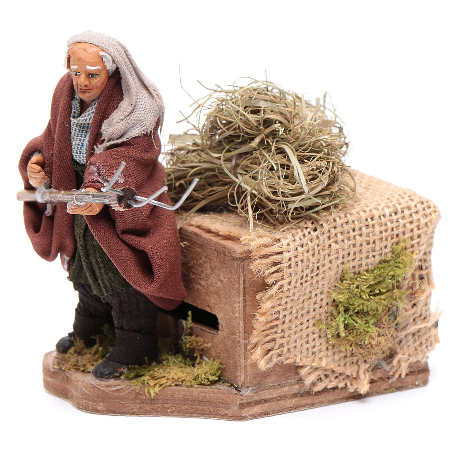Moving 10 cm farmer Neapolitan nativity scene 4