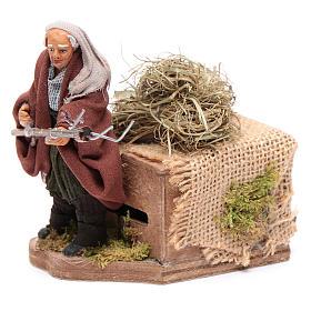Moving 10 cm farmer Neapolitan nativity scene s2