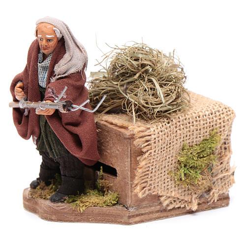 Moving 10 cm farmer Neapolitan nativity scene 2