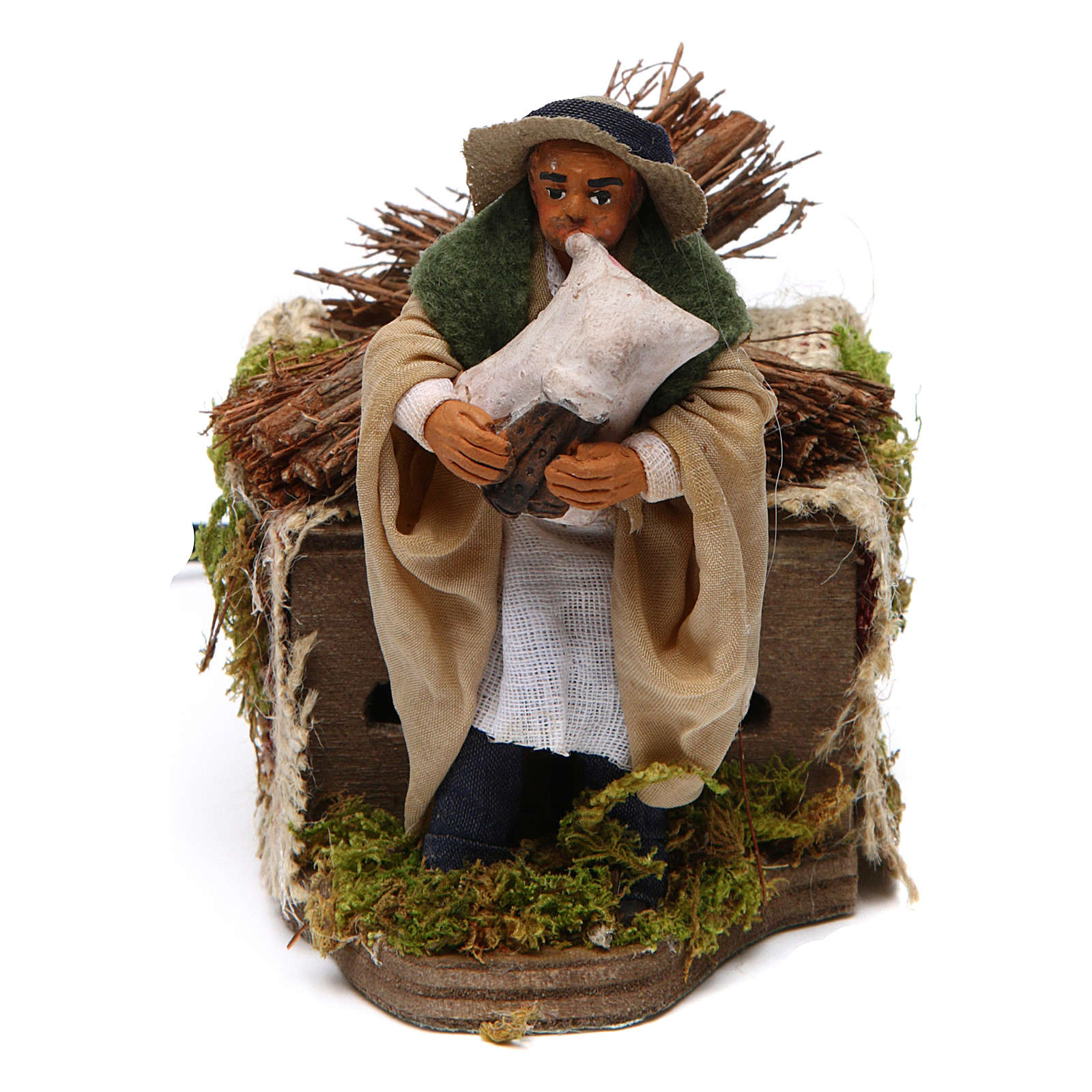 Moving 10 cm bagpiper Neapolitan nativity scene 4