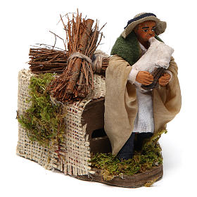 Moving 10 cm bagpiper Neapolitan nativity scene s3