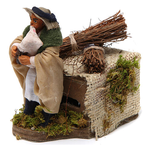 Moving 10 cm bagpiper Neapolitan nativity scene 2