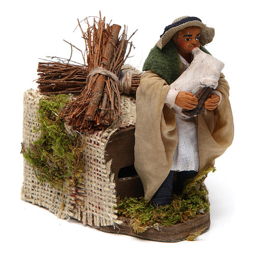 Moving 10 cm bagpiper Neapolitan nativity scene 3