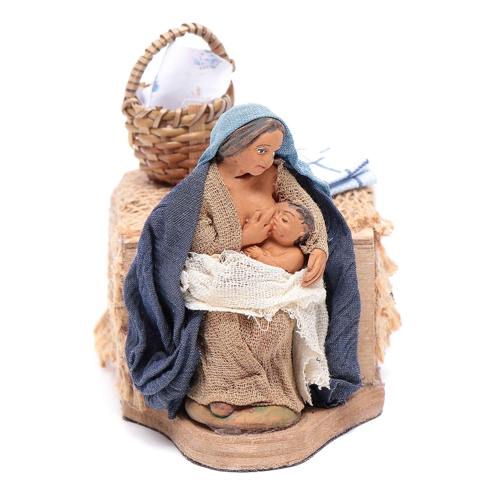 Donna allatta 10 cm con movimento presepe Napoli 4