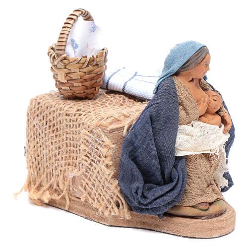 Donna allatta 10 cm con movimento presepe Napoli 3