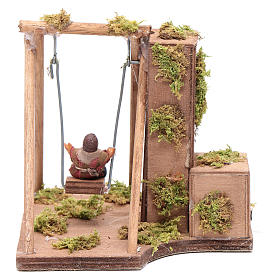 Moving child on the swing 10 cm for Neapolitan nativity scene s4