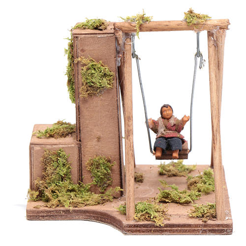 Moving child on the swing 10 cm for Neapolitan nativity scene 1