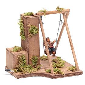 Moving child on a swing 10 cm for Neapolitan nativity scene s3