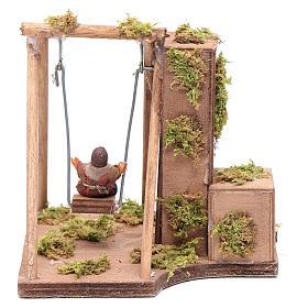Moving child on a swing 10 cm for Neapolitan nativity scene s4