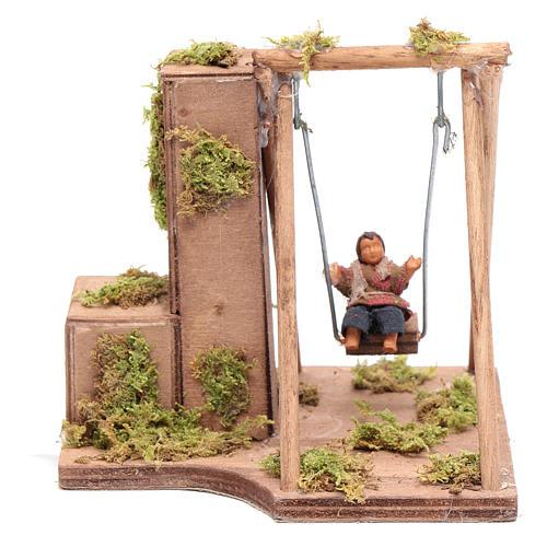 Moving child on a swing 10 cm for Neapolitan nativity scene 1