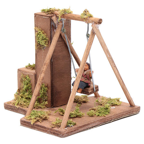 Moving child on a swing 10 cm for Neapolitan nativity scene 2