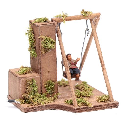 Moving child on a swing 10 cm for Neapolitan nativity scene 3