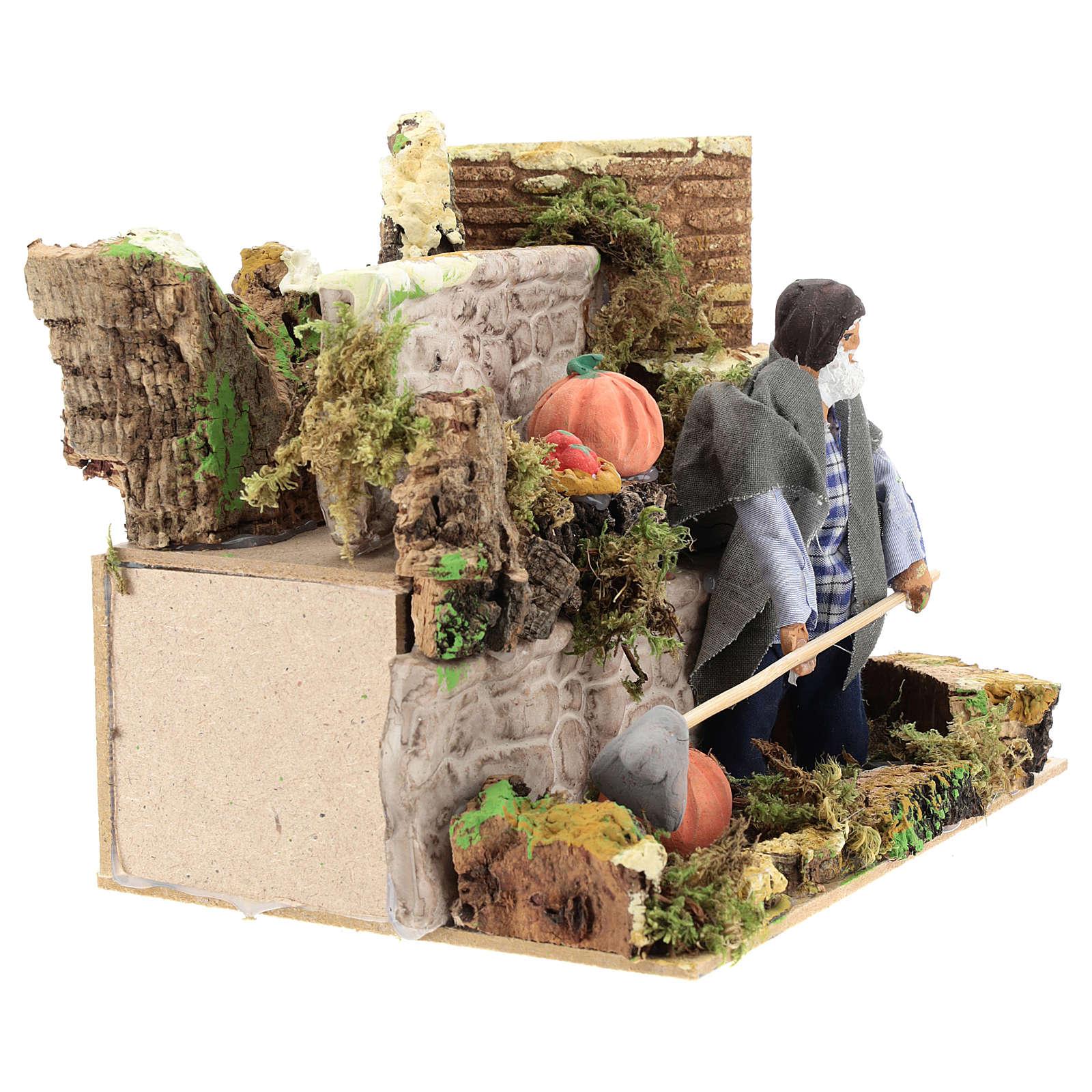 Agriculteur 12 cm avec mouvement terre cuite 3