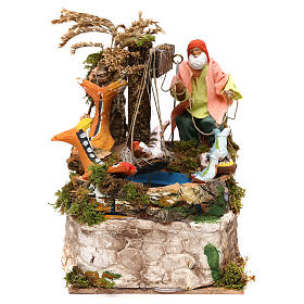 Animated Nativity Scenes: Fisherman  12 cm with movement in terracotta