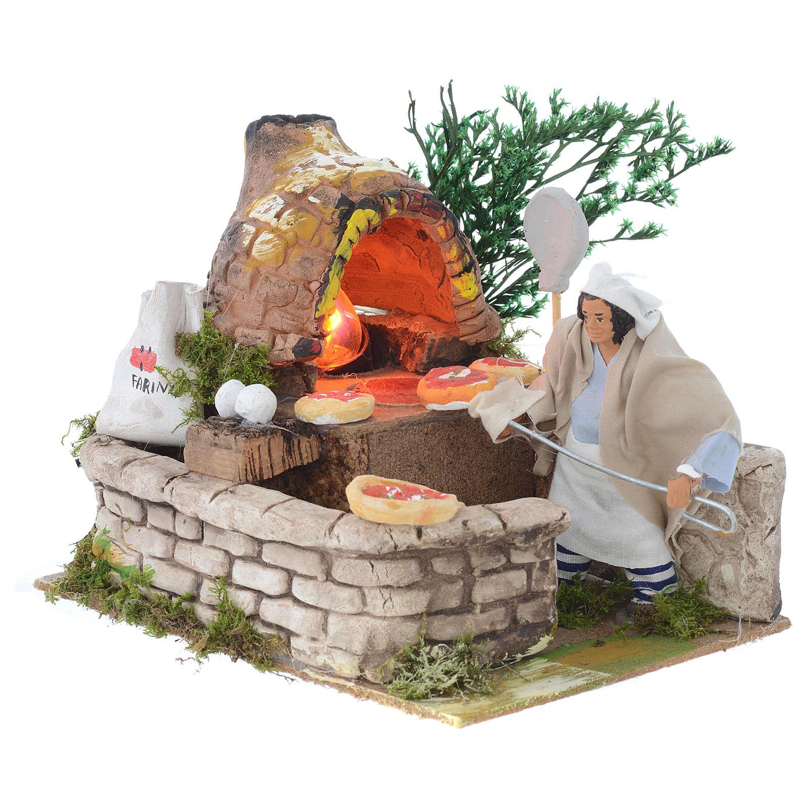 Pizzaiolo 12 cm movimento terracotta con lampada effetto fiamma 3
