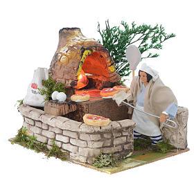 Pizzaiolo 12 cm movimento terracotta con lampada effetto fiamma s2