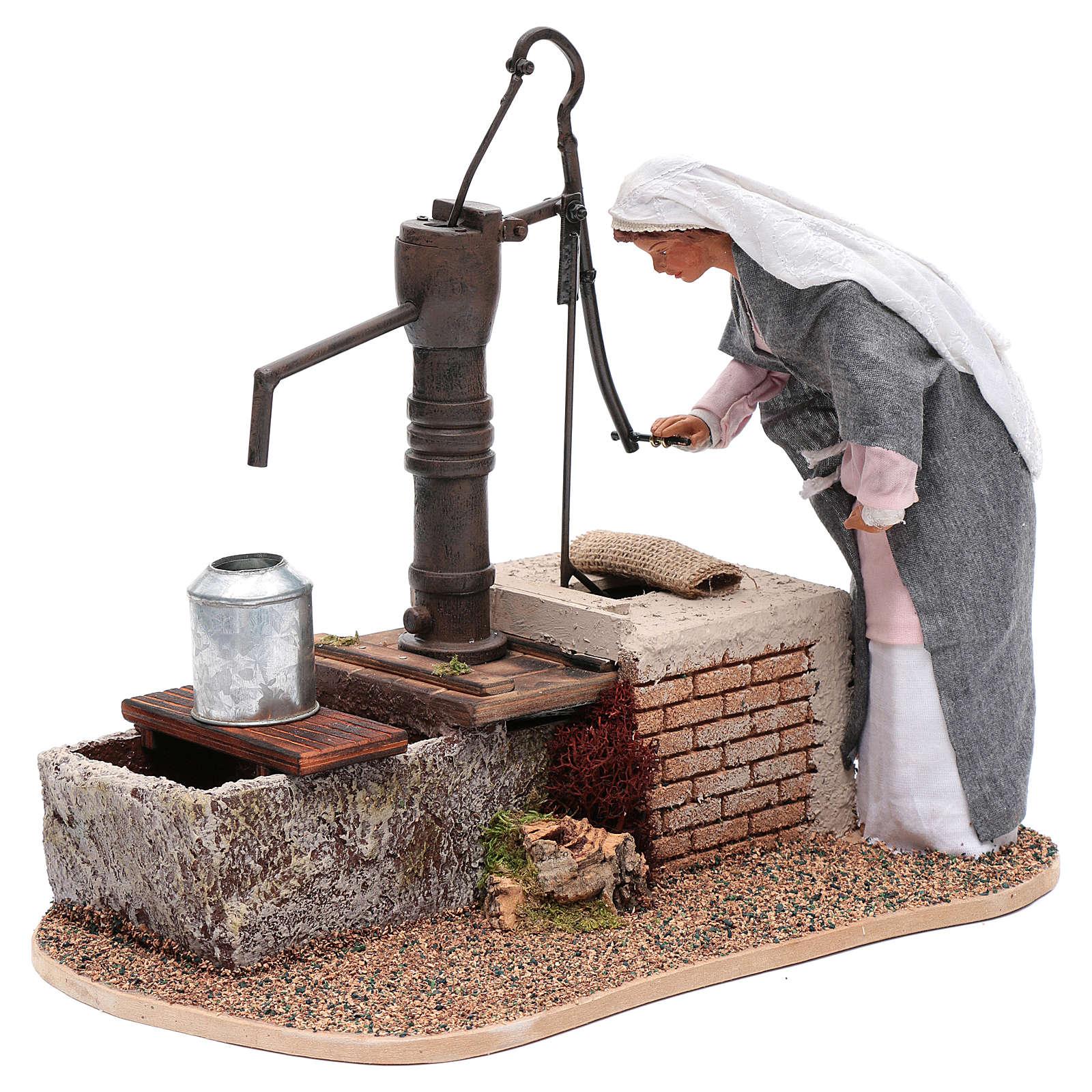 Donna movimento alla fonte con acqua corrente 30 cm 3