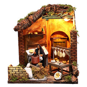Moving woman mixing polenta and cheeses 12 cm  for Neapolitan nativity scene s1