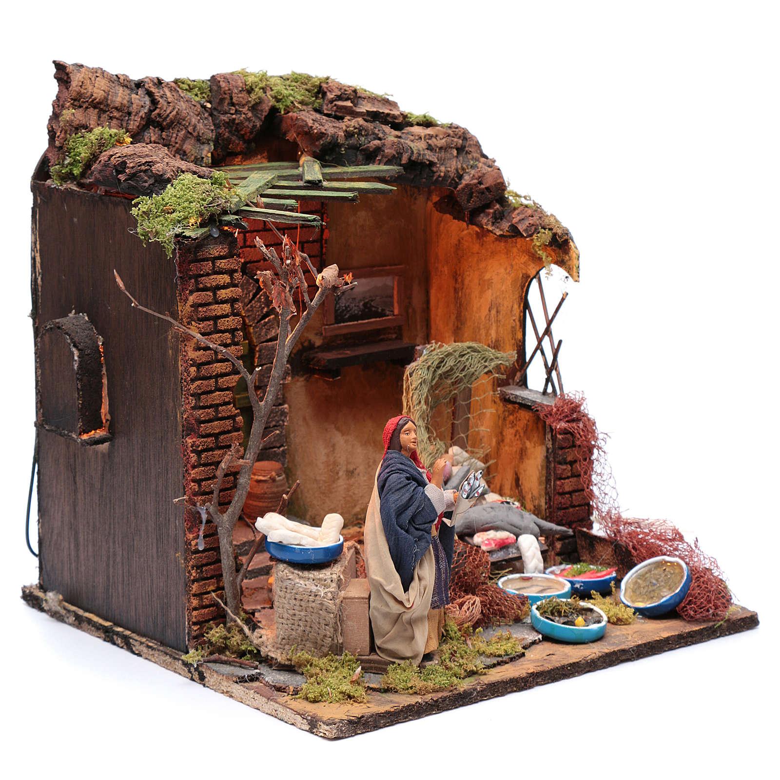 Moving woman fishmonger setting 12 cm for Neapolitan nativity scene 4