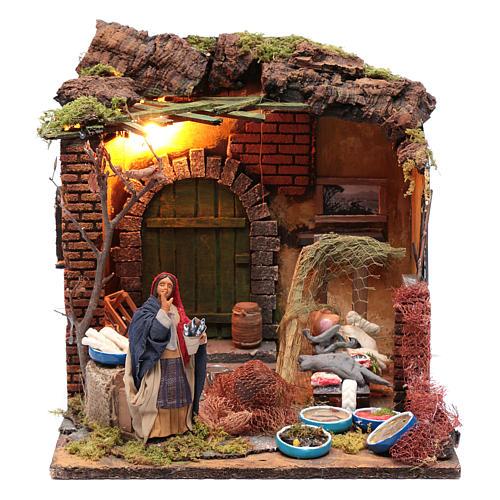Moving woman fishmonger setting 12 cm for Neapolitan nativity scene 1