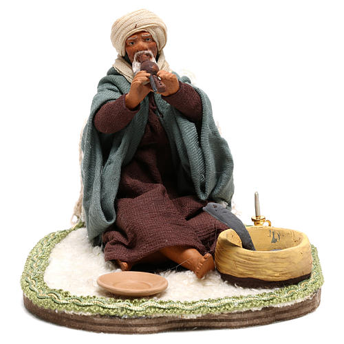 Moving snake charmer 14 cm for Arabian style Neapolitan nativity scene 1
