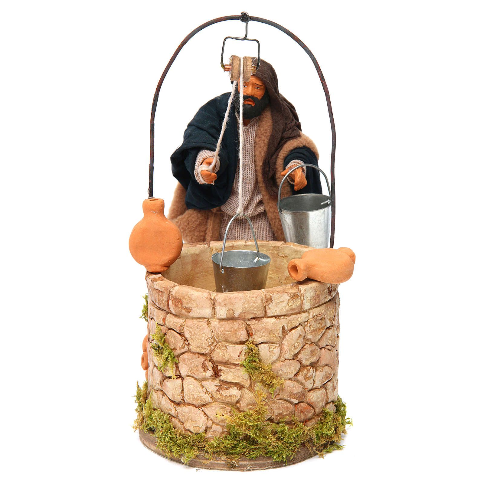 Moving man at the well 14 cm for Neapolitan nativity scene 4