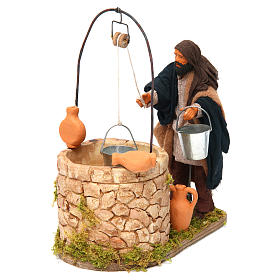 Moving man at the well 14 cm for Neapolitan nativity scene s2
