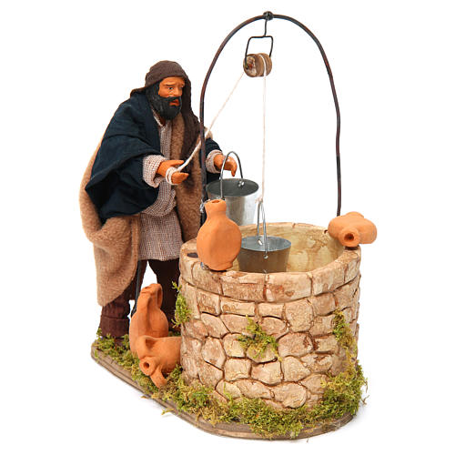 Moving man at the well 14 cm for Neapolitan nativity scene 3