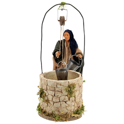 Moving man at the well 14 cm for Neapolitan nativity scene 1