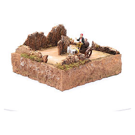 Moving shepherd on cart with horse nativity scene setting s3