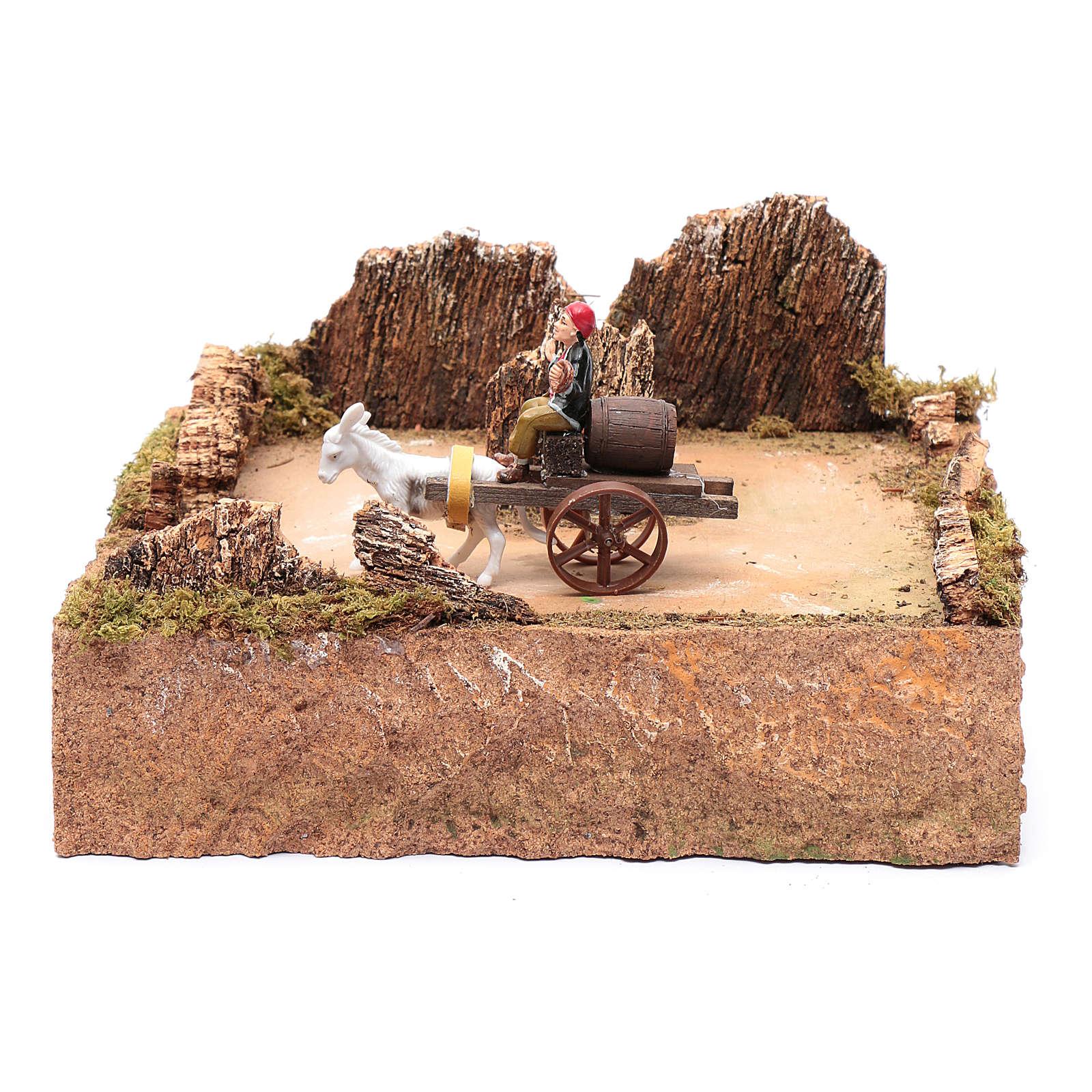 Berger en mouvement sur charrette avec cheval décor crèche 3