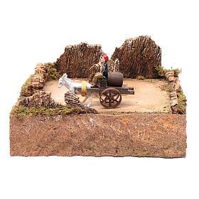 Pastore in movimento su carro con cavallo ambientazione presepe s1