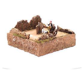 Pasterz ruchoma figurka na wozie z koniem otoczenie szopki s3