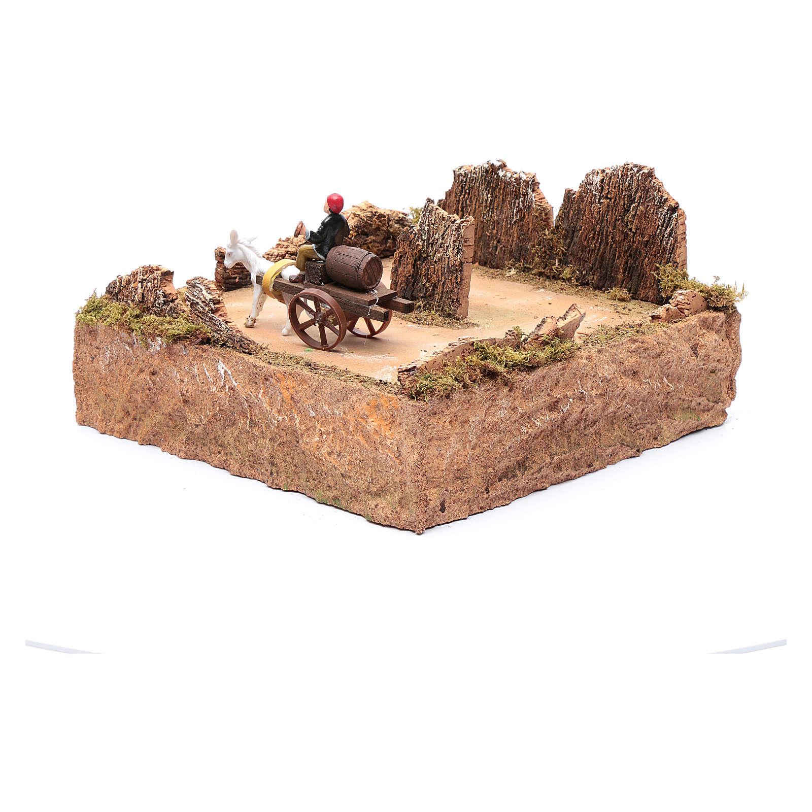 Pastor em movimento no carrinho com cavalo decoro presépio 3